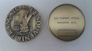 Médaille du Souvenir Français offerte à son S.E. M. Thierry Viteau